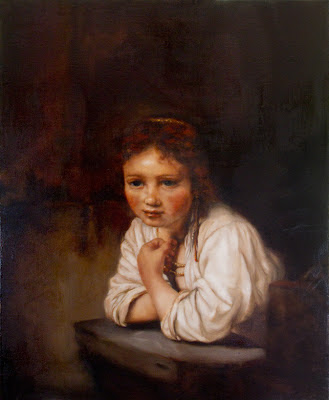 Girl in Window, Copy of a Rembrandt oil painting by Nicole Piar