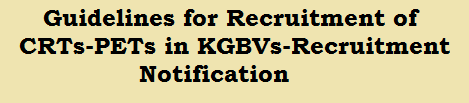Guidelines for Recruitment of CRTs-PETs in KGBVs-Recruitment Notification