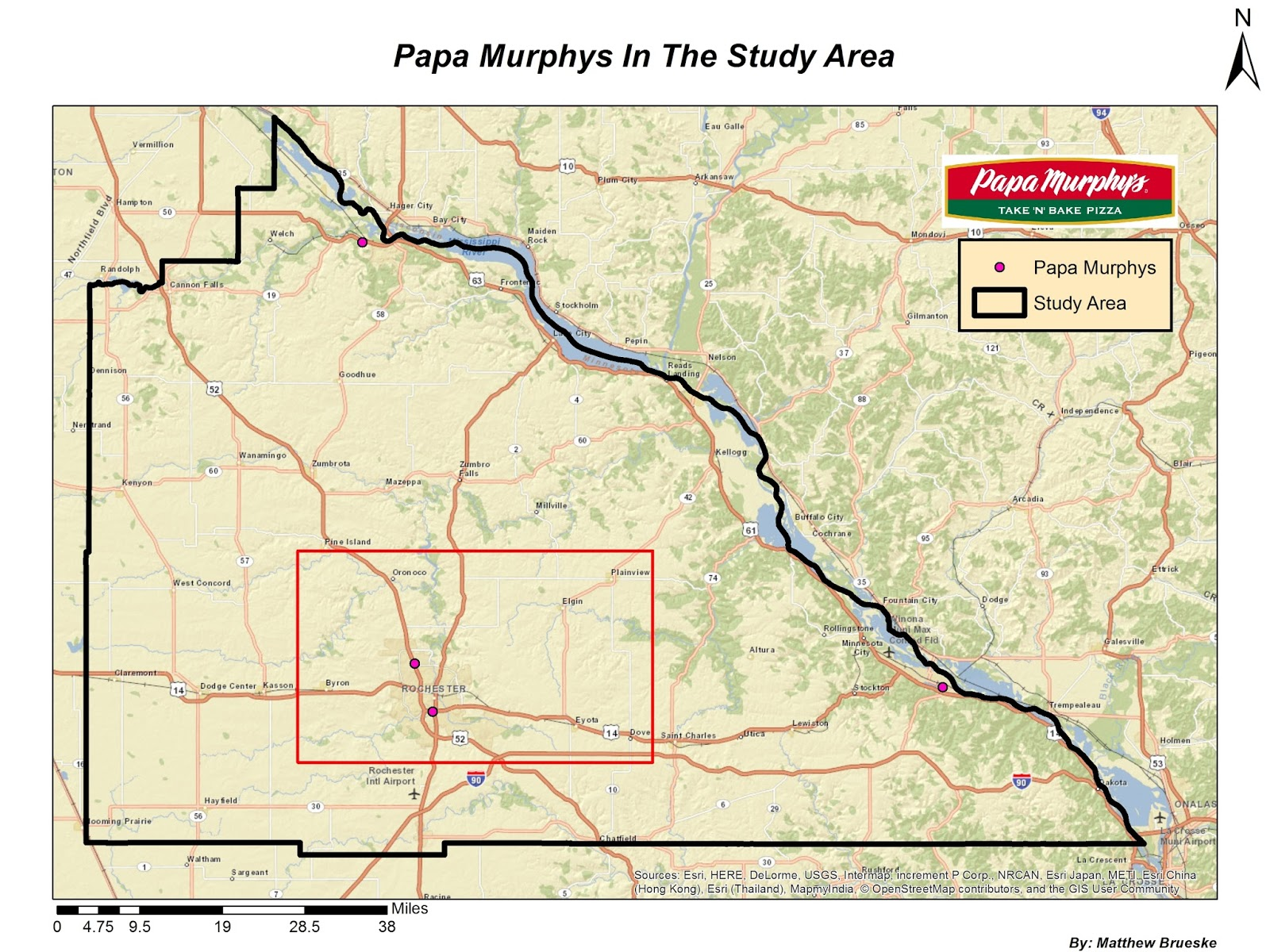 this map shows the greater study are for developing a new papa murphy s store the red box within the study area shows the specific area of where a new