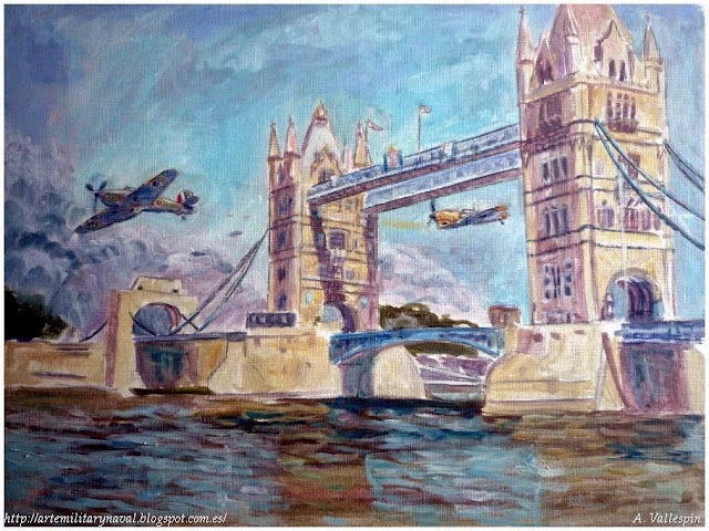 Pintura al oleo de un Bf 109 y un Hawker Hurricane atravesando el Puente de Londres en WWII