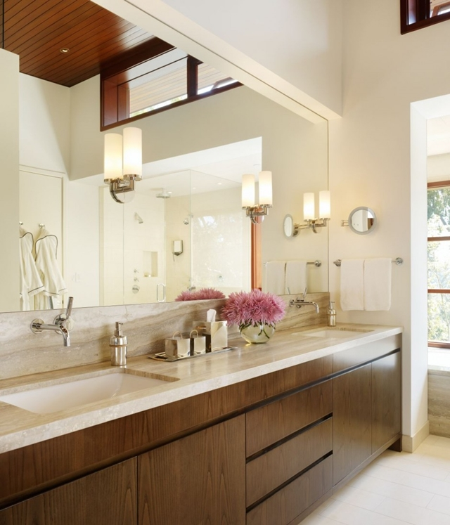 Modern bathroom furniture in the Mandeville Canyon Residence