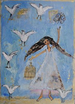 tyttö ja linnut