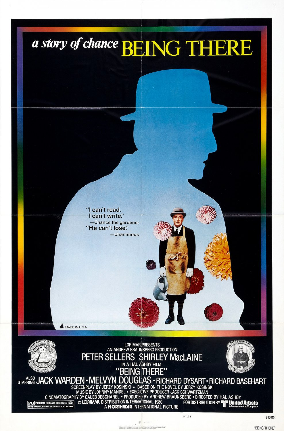 being there Being there is a very funny and thought-provoking movie that can be seen as a fairy tale, a political story, and a religious parable on the nature of identity in a media age director hal ashby's adaptation of kosinski's 1971 novel is a tour de force of sensitivity and well-realized pacing.