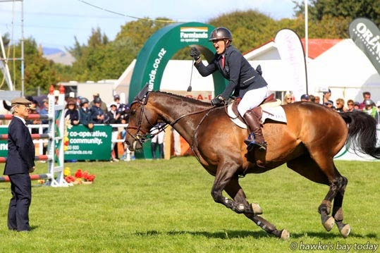 Lisa Cubitt, on Bates Amaretto, spontaneous celebration after winning the Ultra-Mox Lady Rider of the Year 1.35-1.45m event at Horse of the Year, Hawke's Bay Showgrounds, Hastings. photograph