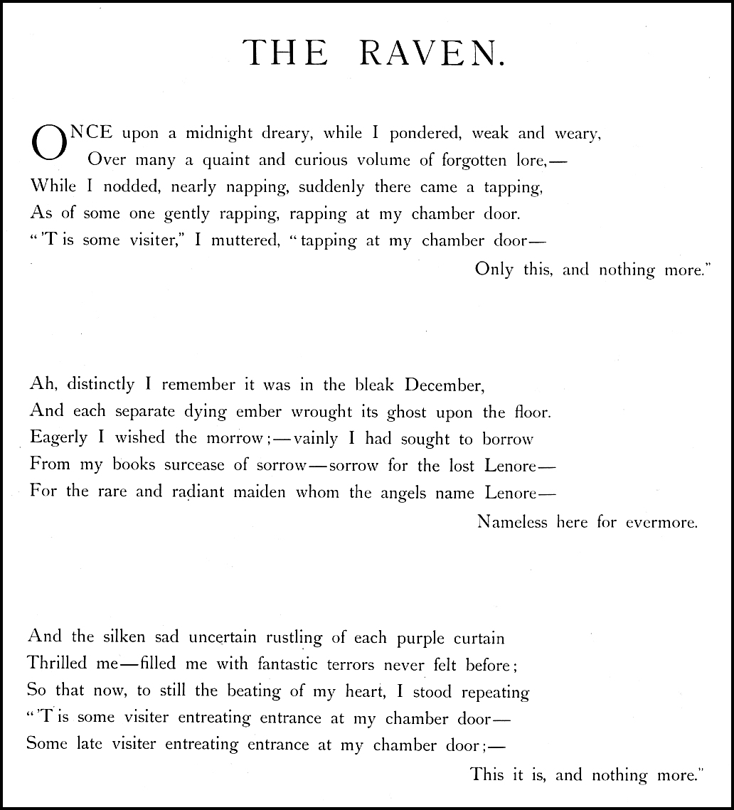 poem the raven by edgar allan poe essay Edgar allan poe (/ p oʊ / born edgar poe  poe published his poem the raven to  poe describes his method in writing the raven in the essay the philosophy.