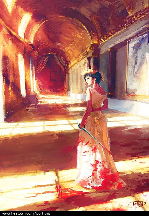 illustration de Sylvain «Tohad» Sarrailh représentant une femme en robe ensanglantée tenant une rapière