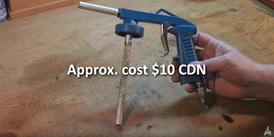 demonstrating solvent sprayer gun approximate cost $10 CAD
