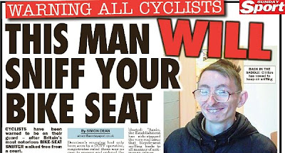 Warning all Cyclists This man will sniff you bike seat.