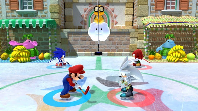 Screenshot of Ice Hockey in Wii U version of Mario & Sonic at the Sochi 2014 Olympic Winter Games