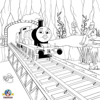 Wooden railway bridge Thomas and his friends Edward coloring image for children to colour and print