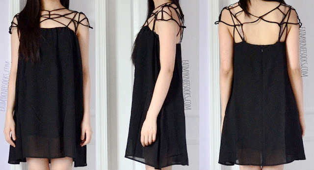 Front, side, and back views of the black caged shift dress from Romwe, a great dress for the summer and spring.