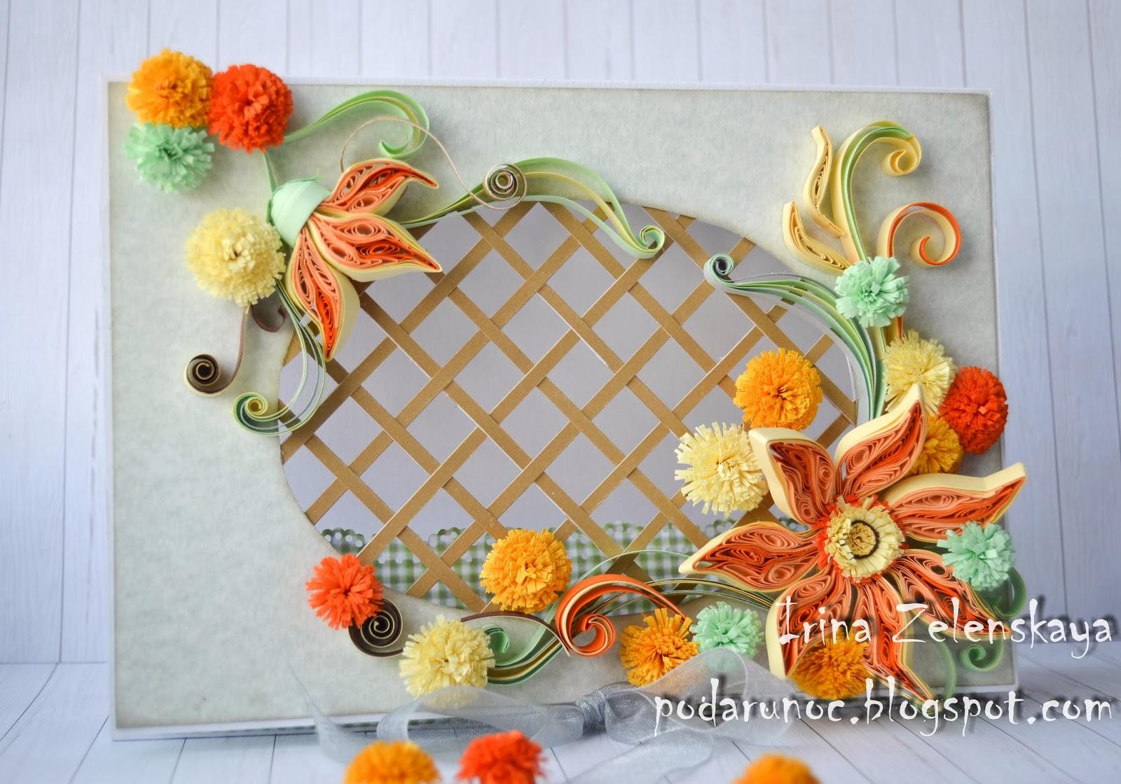 открытка квиллинг цветы