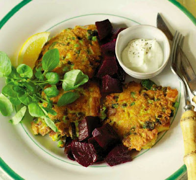 Haloumi, Pea and Mint Fritters