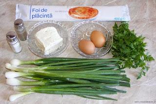 ingrediente placinta cu ceapa verde branza si oua, retete culinare, retete cu branza telemea, retete cu ceapa verde, retete cu oua, preparate culinare, cum se face placinta cu ceapa,