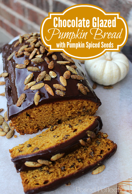 This Chocolate Glazed Pumpkin Nut Bread with Pumpkin Spiced Pumpkin Seeds is out of this world good!