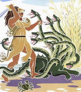 Gli antichi miti Albanesi. Idra e draghi lottano nei cieli, foreste e montagne.