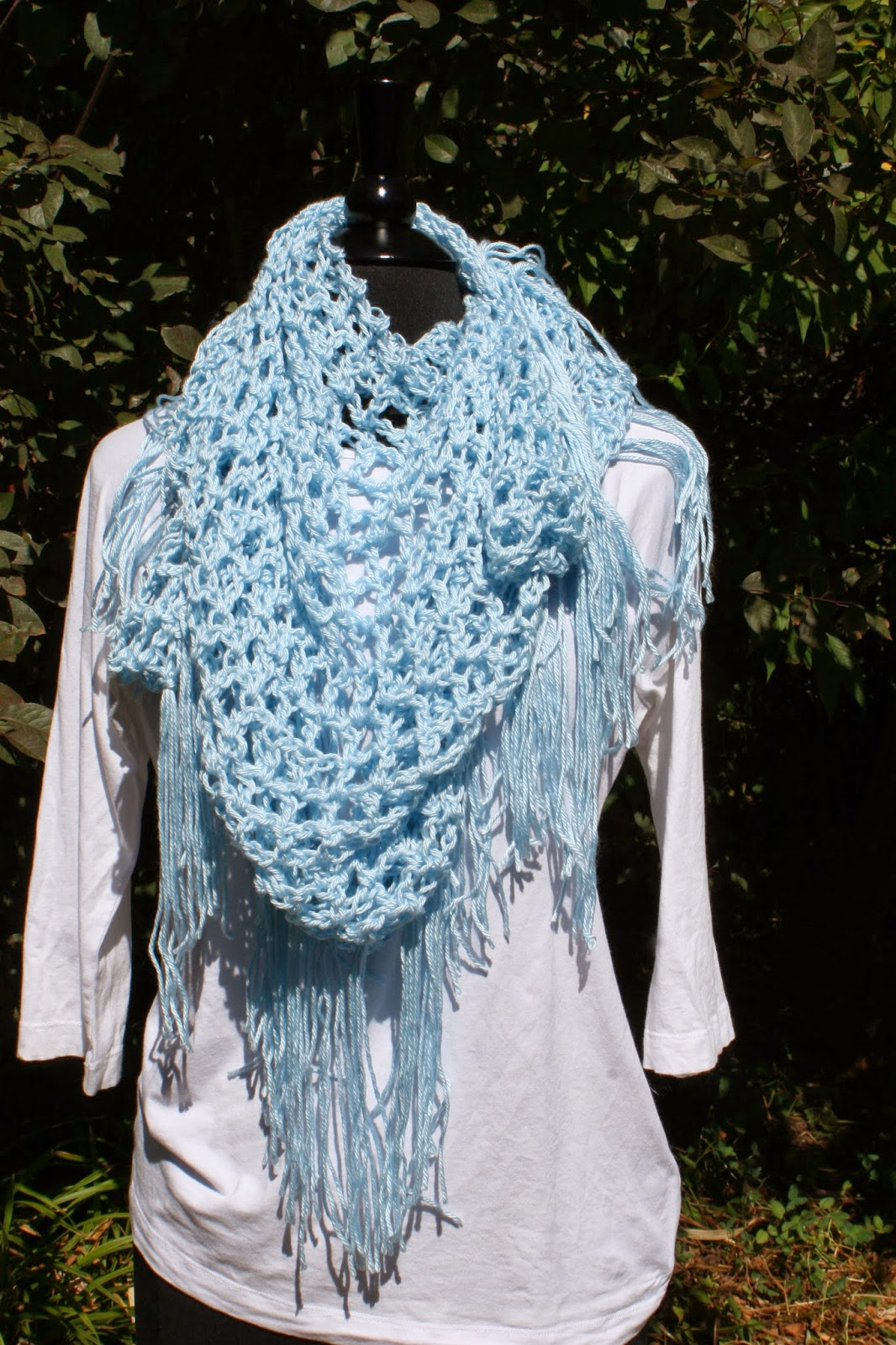 Fringed Crocheted Triangle Scarf