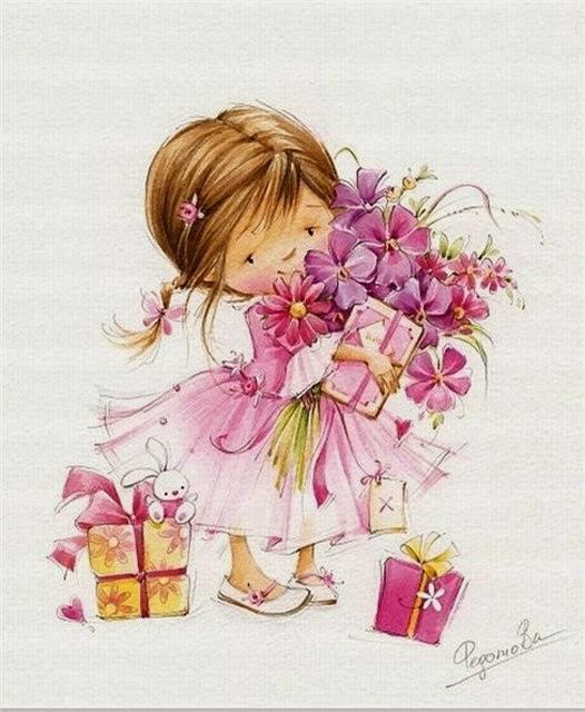 Девочка с цветами открытка 69
