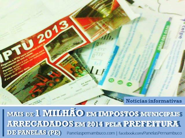 Prefeitura de Panelas arrecadou em 2014 mais de 1 milhão de reais em tributos