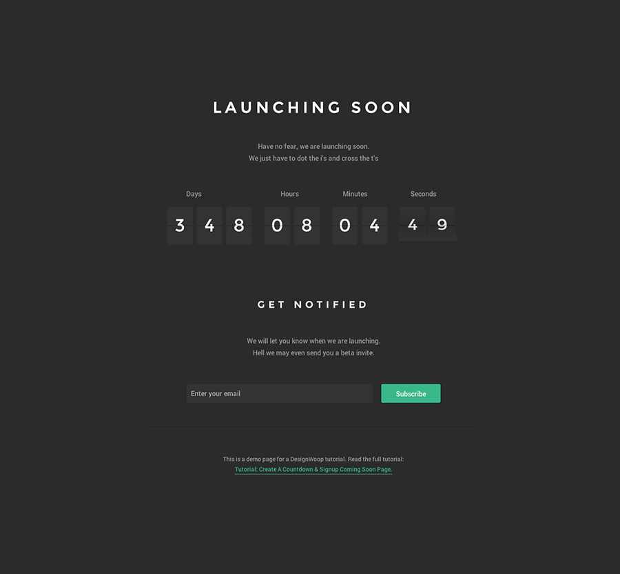 Tutorial: Create A Countdown & Signup Coming Soon Page