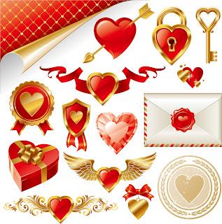 金色とハートで愛を表現するエレメント Heart gold element to express love イラスト素材