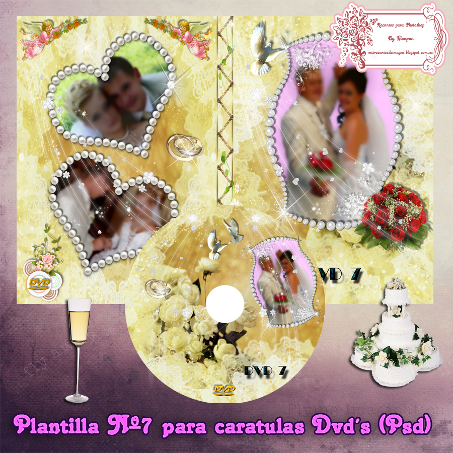Recursos Photoshop Llanpac: Caratula de bodas para Cd´s y Dvd´s (Psd)
