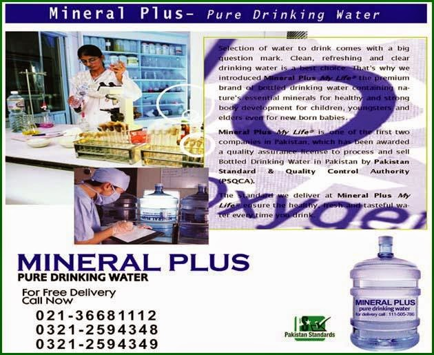 Mineral Plus Pure Drinking Water with Free Home Delivery anywhere in Karachi Pakistan