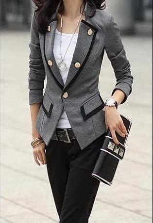 Grey Color Blazer With Black Pent And Black Clutch