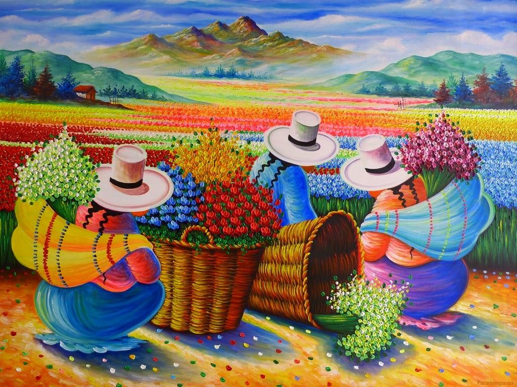 Cuadros modernos pinturas y dibujos mujeres campesinas - Color y pintura ...
