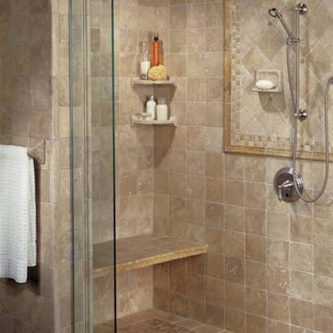 luxury Tan tiled shower room