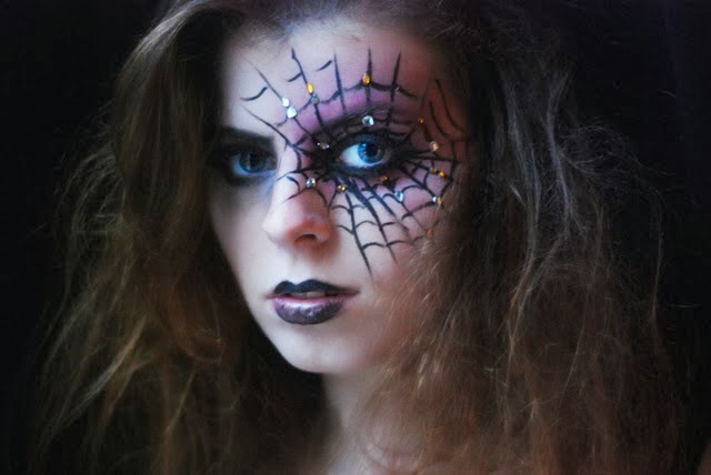 maquillage araignée, spiderweb makeup, halloween makeup, make up halloween