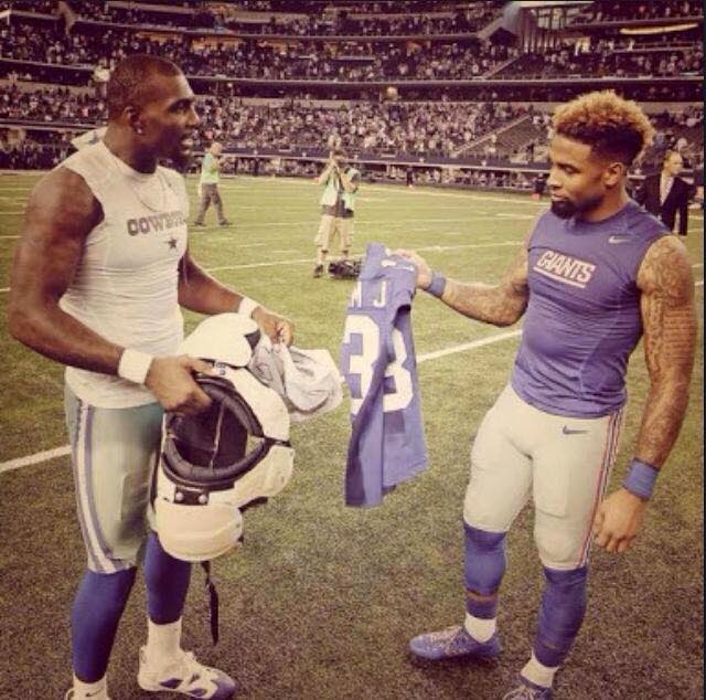 Bryant and Beckham Jr. exchange shirt. #beckhamjr #dezbryant #DALvsNYG #cowboys #Giants