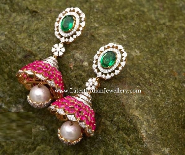 Diamond Jhumkis with Rubies