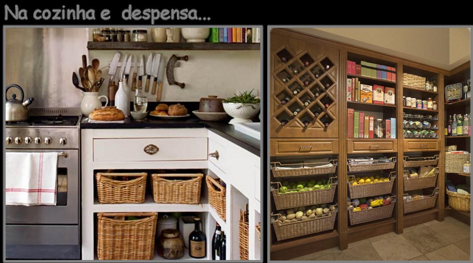 Na cozinha os cestos com alça facilitam o manuseio. Nessa despensa  #946637 1600 888