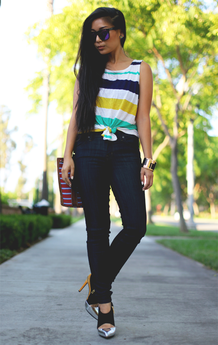 Stephanie Liu of Honey & Silk wearing Forever 21 top, Level 99 Tanya jeans, Schutz shoes, CC Skye enamel cuff, CRAP eyewear, and Stela 9 bag