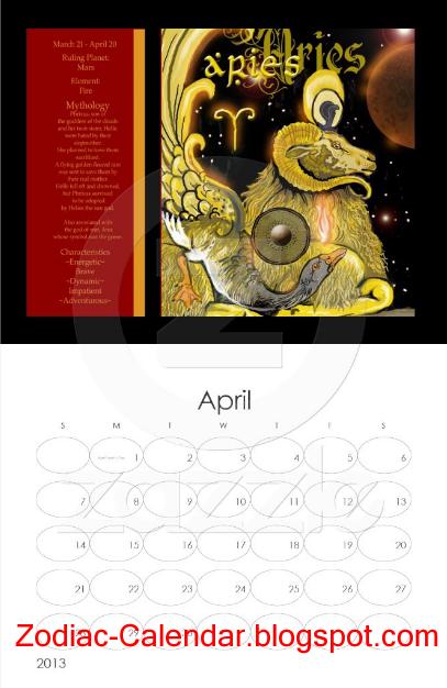Zodiac Calendar April : Zodiac calendar