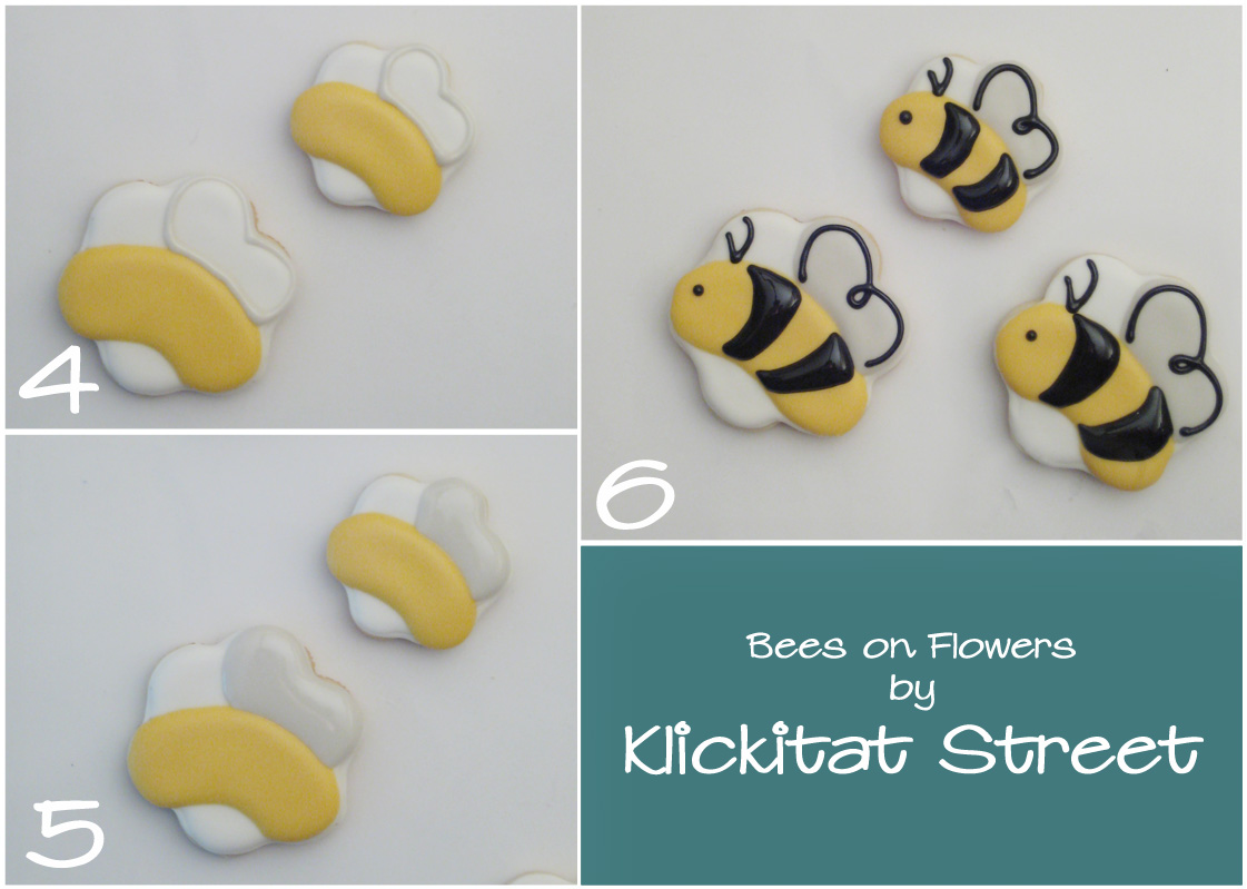 tutorial on decorating bee sugar cookies with flower cookie cutters