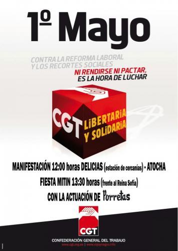 Cgt agencia para el empleo manifestaci n 1 de mayo en madrid for Agencia de empleo madrid
