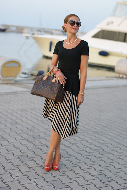 summer outfits, black and white striped dress, DKNY, Castaner heels, Fashion and Cookies