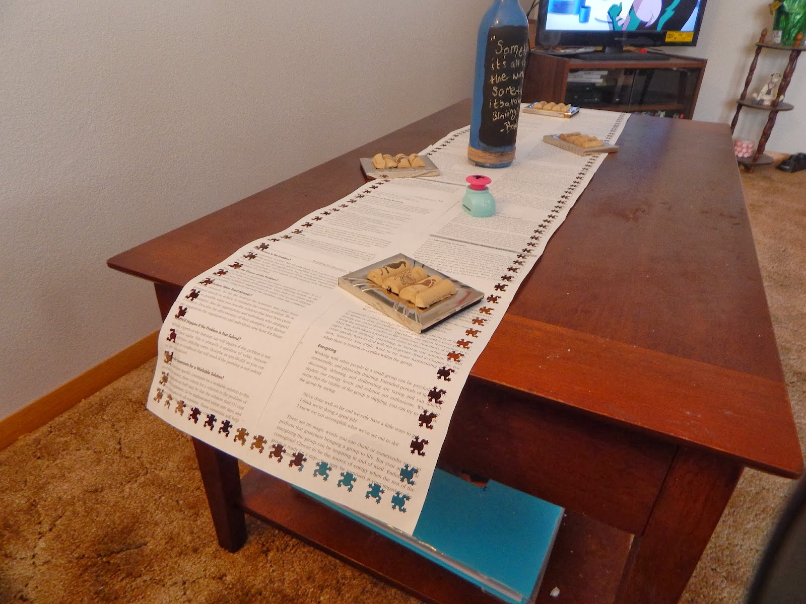 Coffee table made out of books rascalartsnyc once upon a craft diy book club page table runner coffee table made geotapseo Images