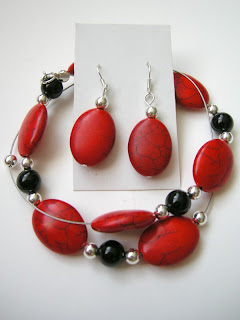 biżuteria z półfabrykatów - czerwień z czernią (komplet)