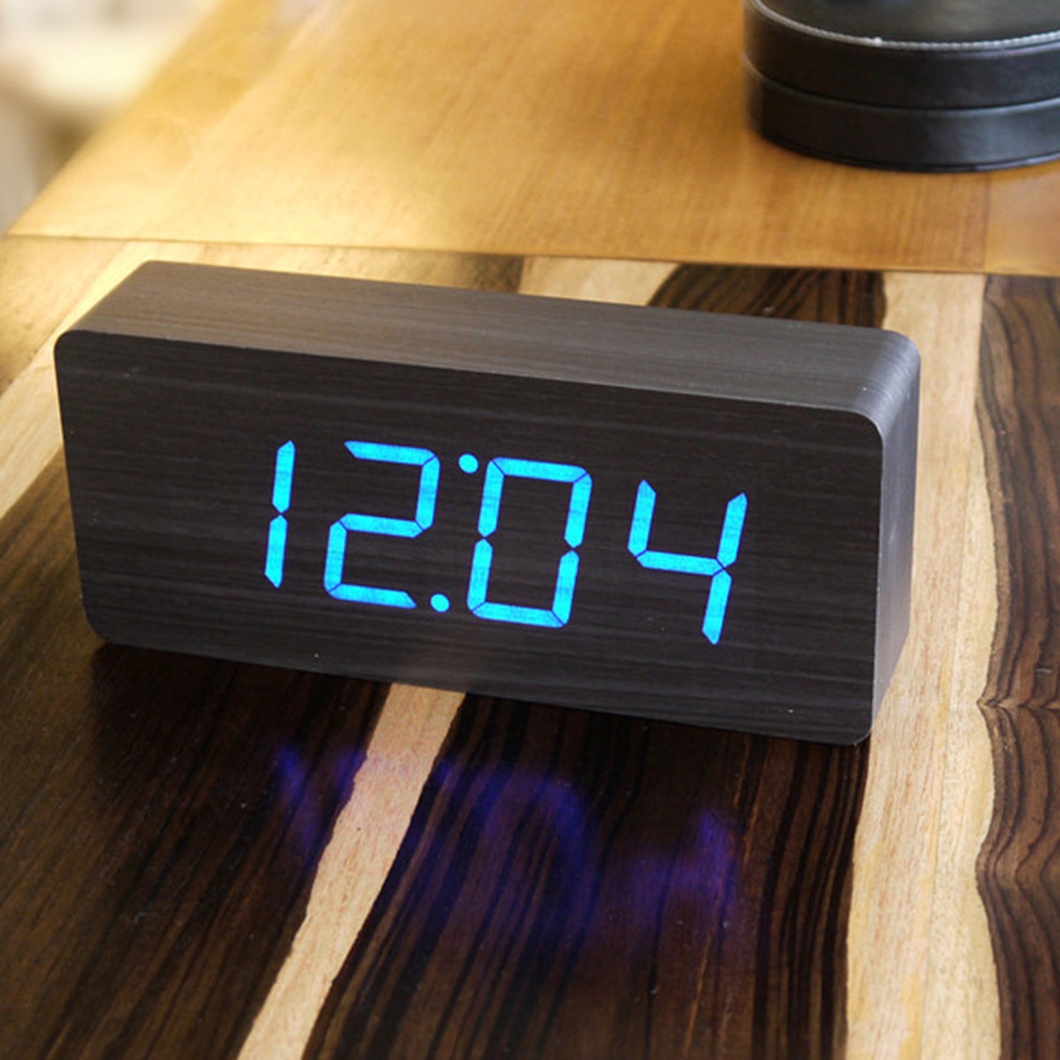 Slab Click Clock Blue LED Black