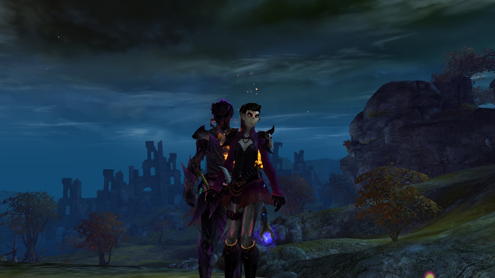 Guild Wars 2 Sylvari Necromancer and Mesmer in Diessa Plateau
