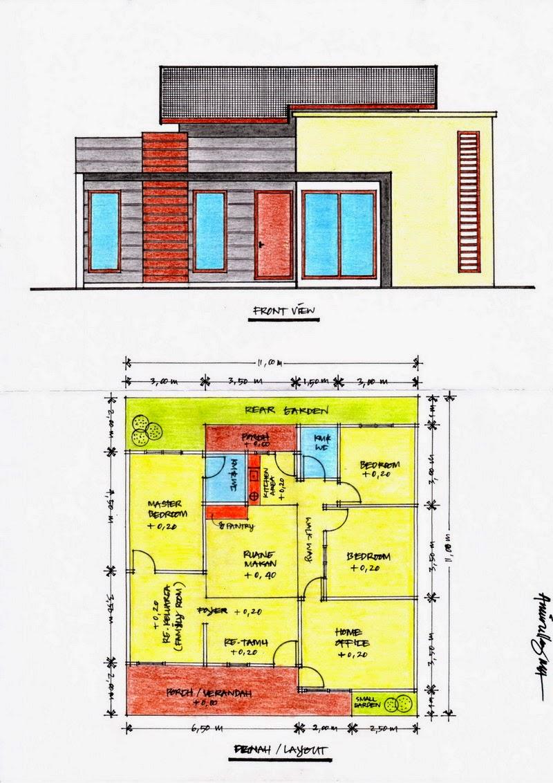 3 contoh denah rumah minimalis type 70 3 kamar tidur