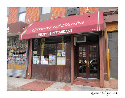 Image of the Entrance of Queen of Sheba Ethiopian restaurant in NYC, New York