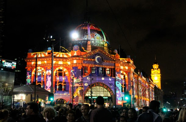Flinders Street Station White Night 2014