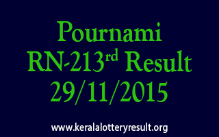 Pournami RN 213 Lottery Result 29-11-2015