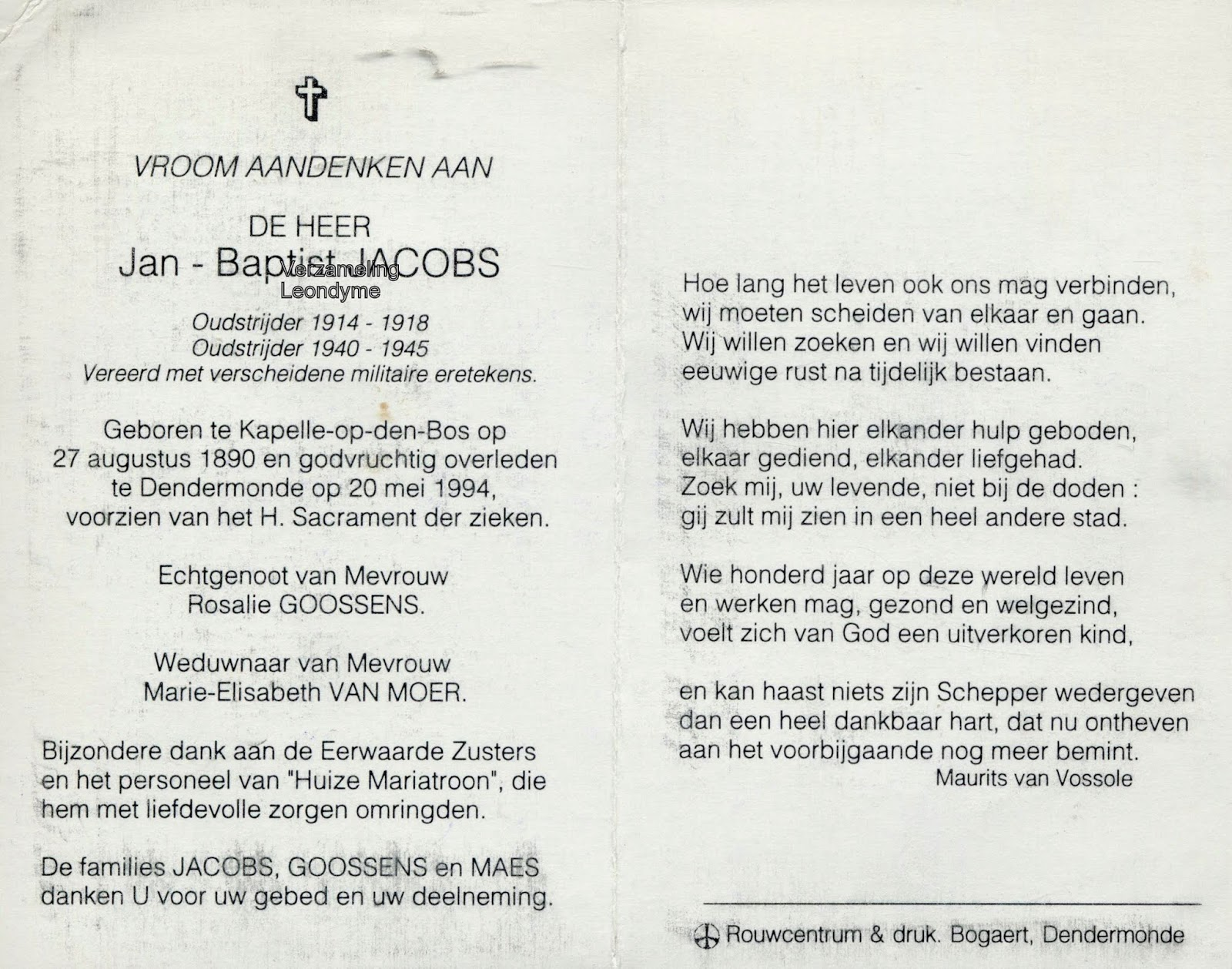 Bidprentje, Jan-Baptist Jacobs 1890-1994. Verzameling Leondyme.