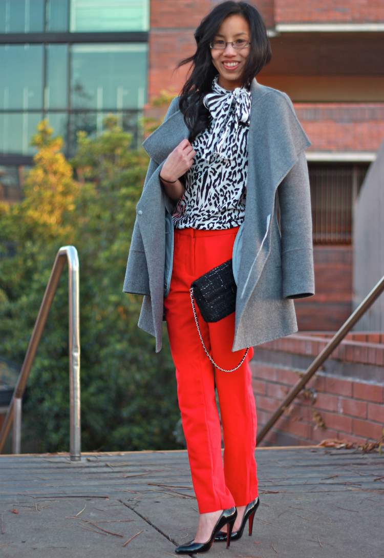 grey winter oversize coat red trouser outfit
