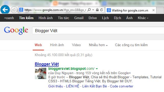 Blogger Việt đã có sitelink
